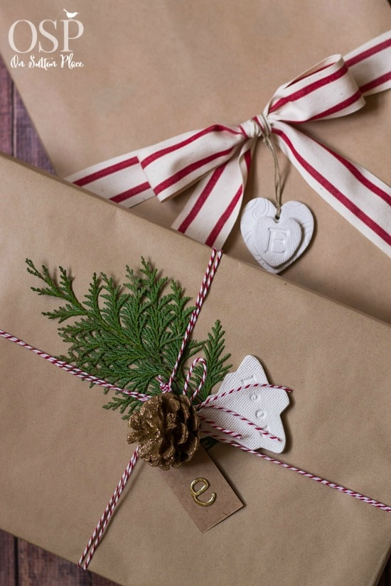 holiday gift wrapping ideas with craft paper and pinecones