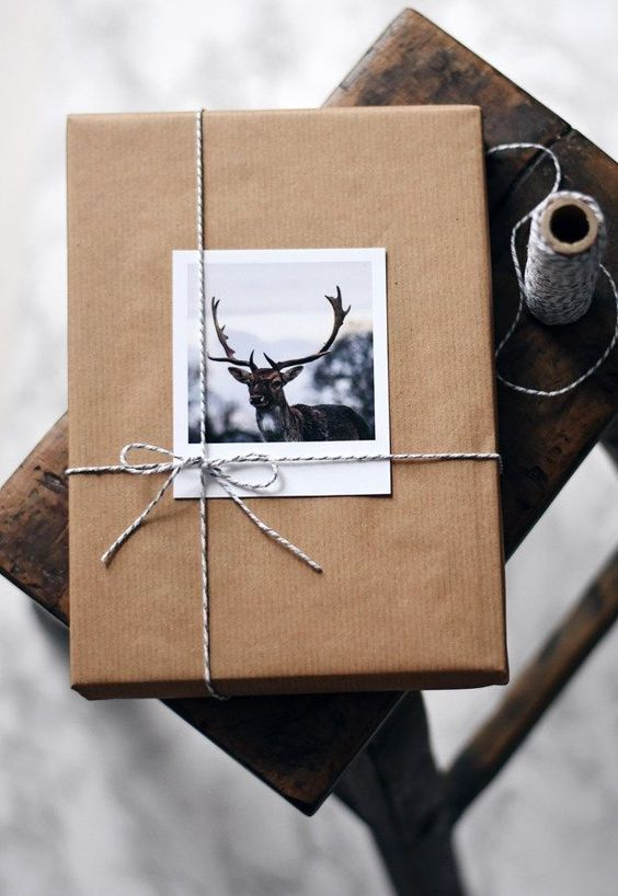 holiday gift with craft paper and photograph
