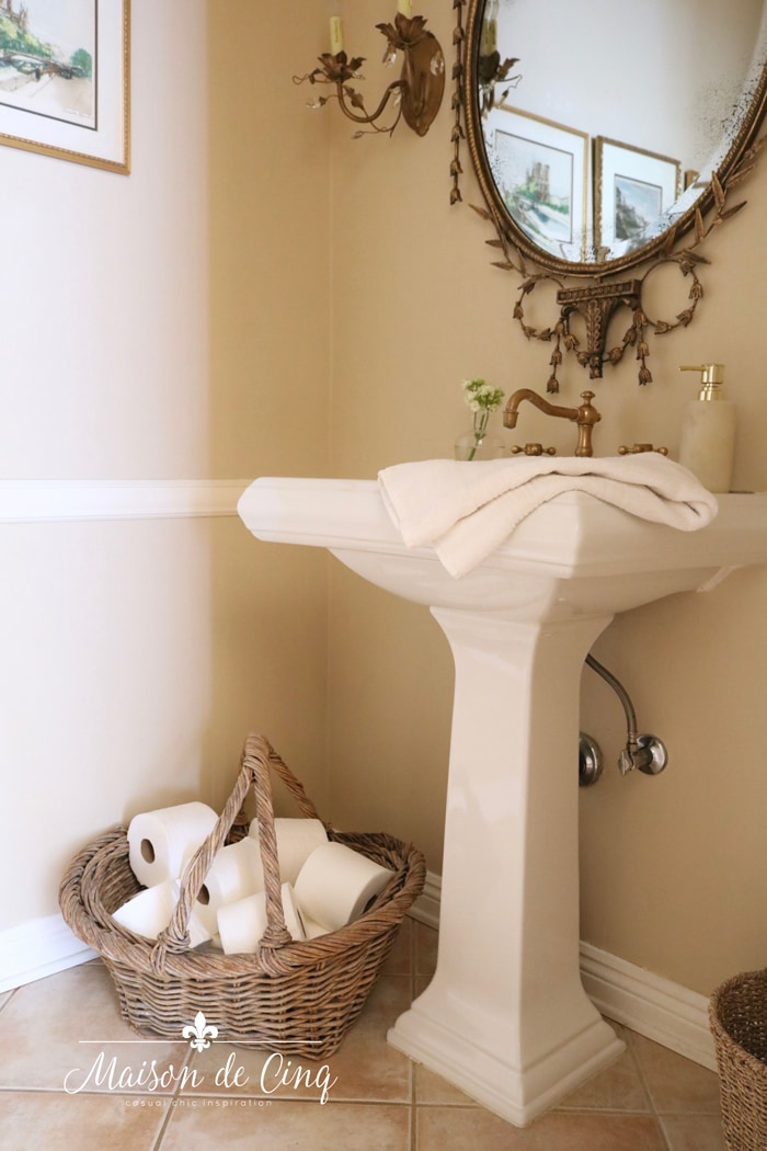 dated before powder room French country