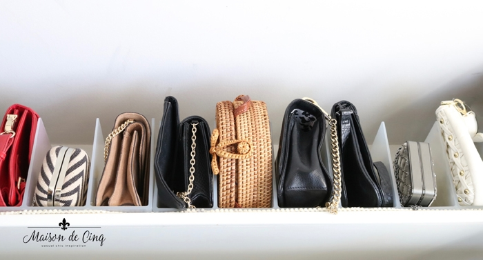 organizing tips use dividers for clutch purses and small handbags