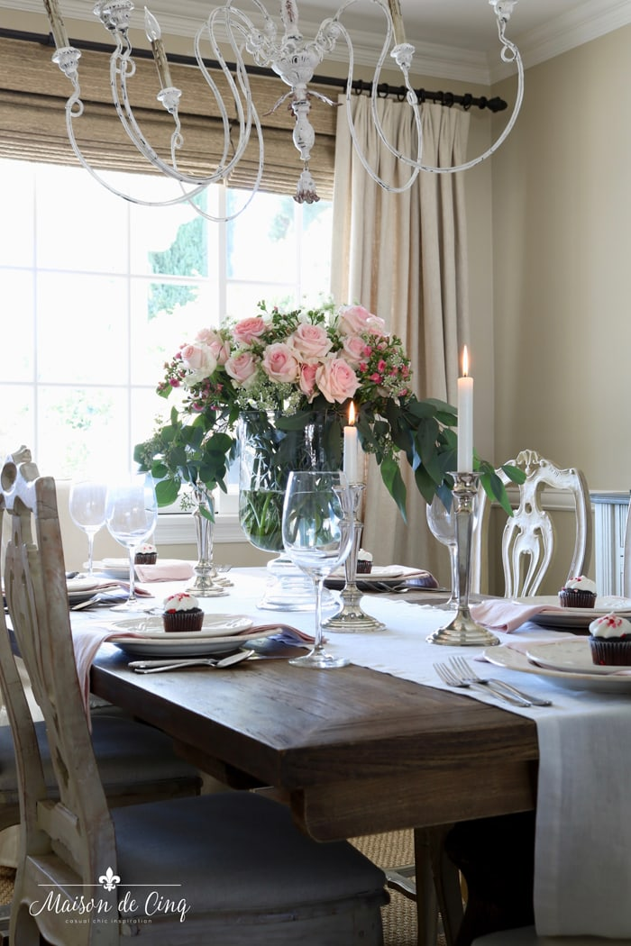 French country dining room with pink roses romantic table setting