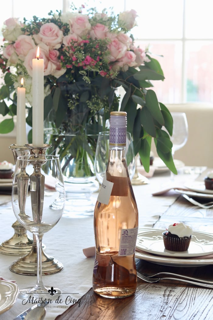 rose wine and pink roses pink and white tablescape