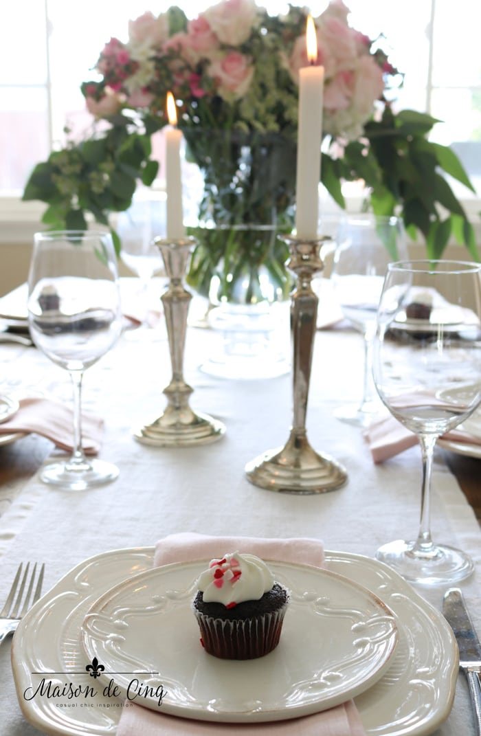 Valentine's day table setting pink roses candles