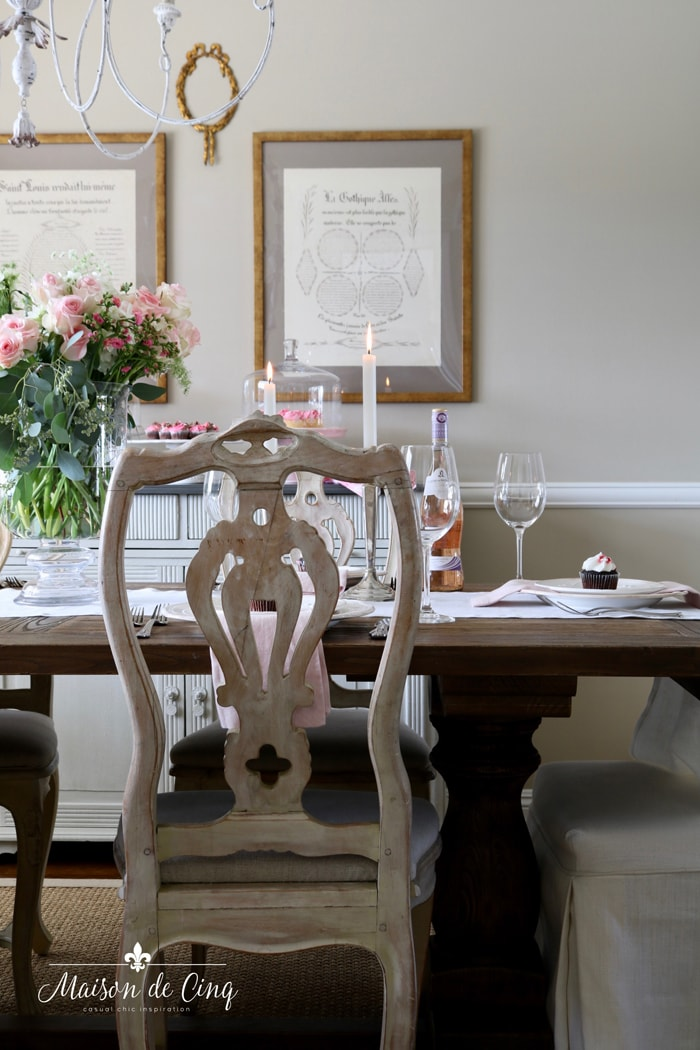 gorgeous French country dining room with pink roses Valentine's decor