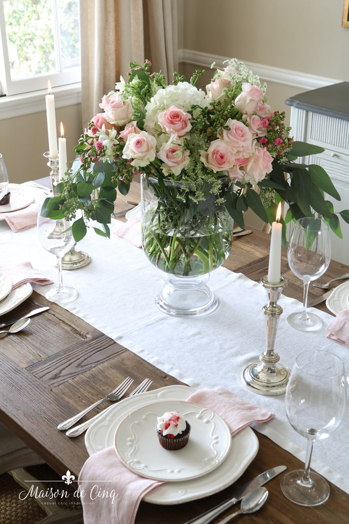 stunning pink and white Valentine's day table setting