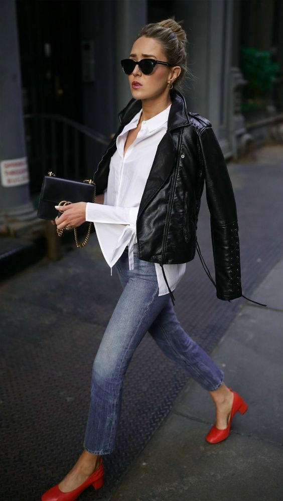 French fashion winter fall style black leather jacket jeans blouse chic street style