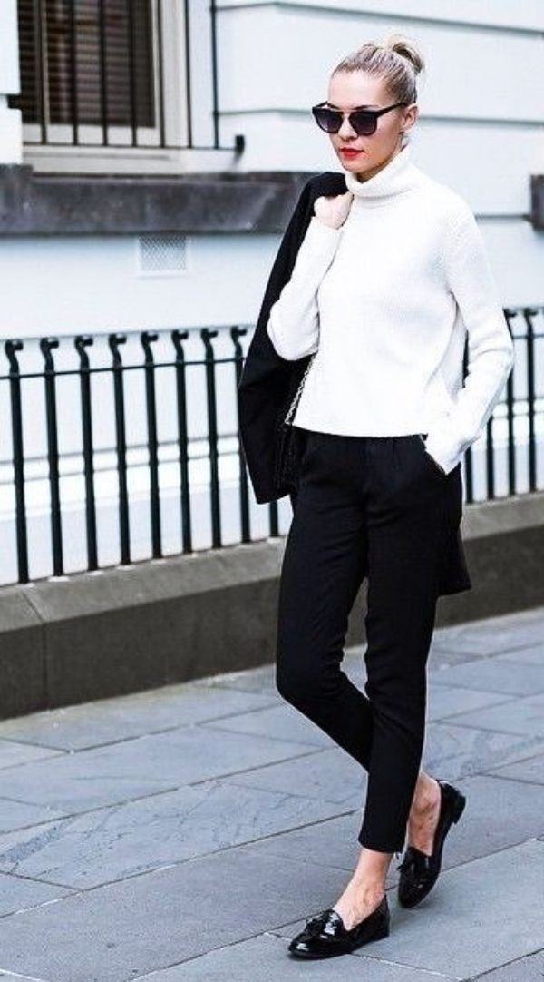 French winter fashion ideas white turtleneck with black pants and flats chic street style