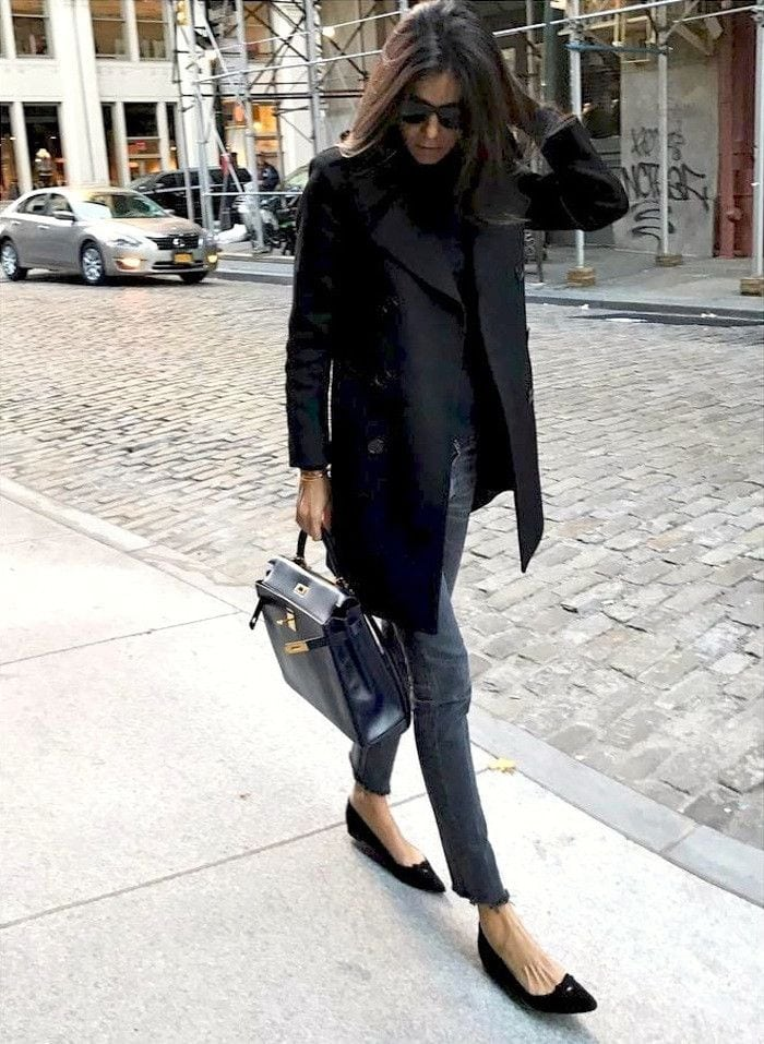 all black outfit peacoat jeans and flats chic street style