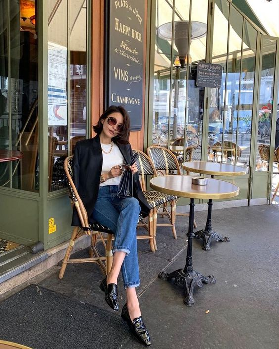 chic French fashion style black blazer loafers and jeans