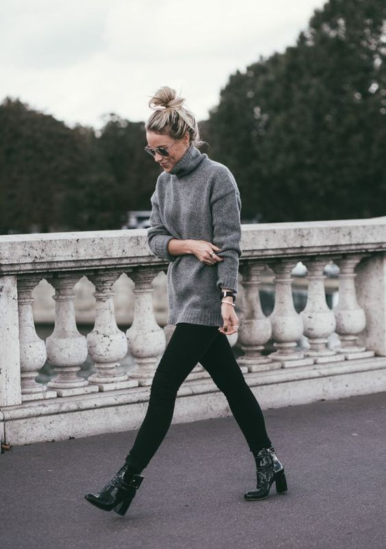 turtleneck with black jeans and boots winter street style