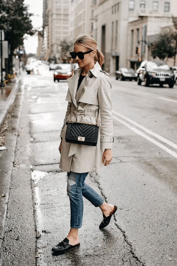 french fashion winter trench coat jeans loafers street style