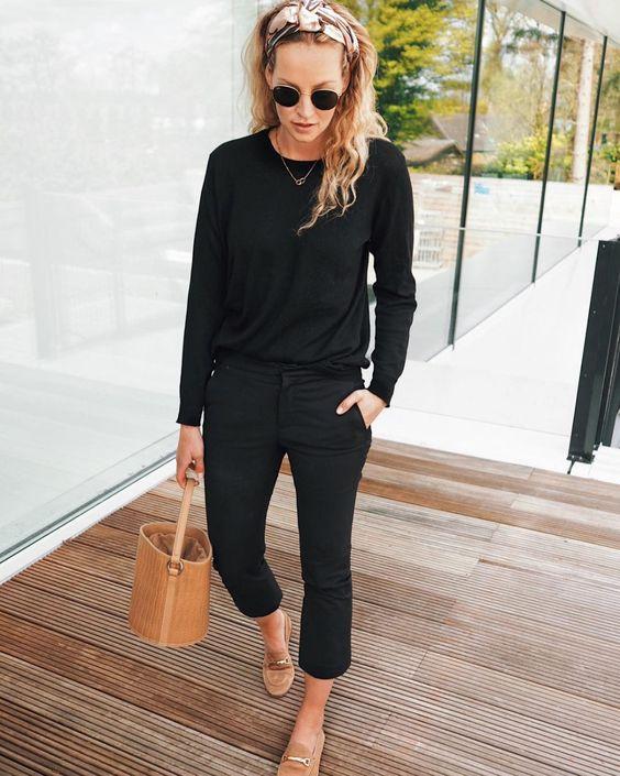 black crewneck sweater and slacks fashion outfit ideas