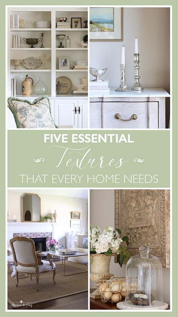 five essential textures that every home needs graphic Maison de Cinq