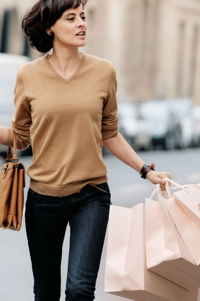 clean and simple camel v neck sweater with jeans chic street style
