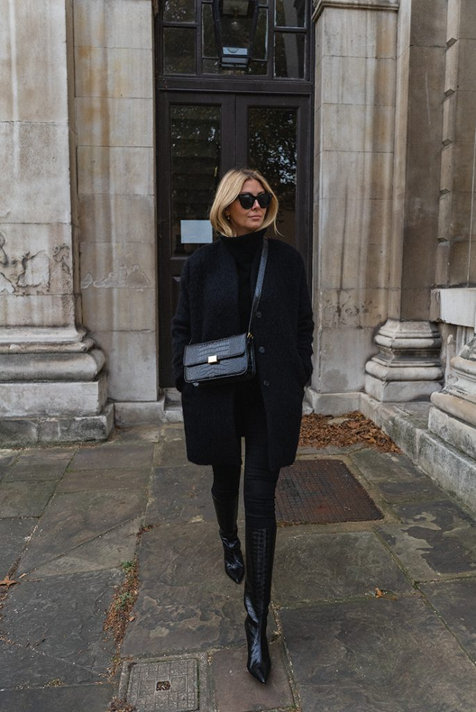 gorgeous all black outfit coat crossbody bag jeans and boots winter French fashion ideas