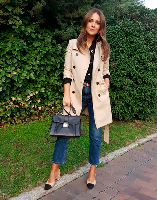 trench coat jeans Chanel heels chic French fashion look