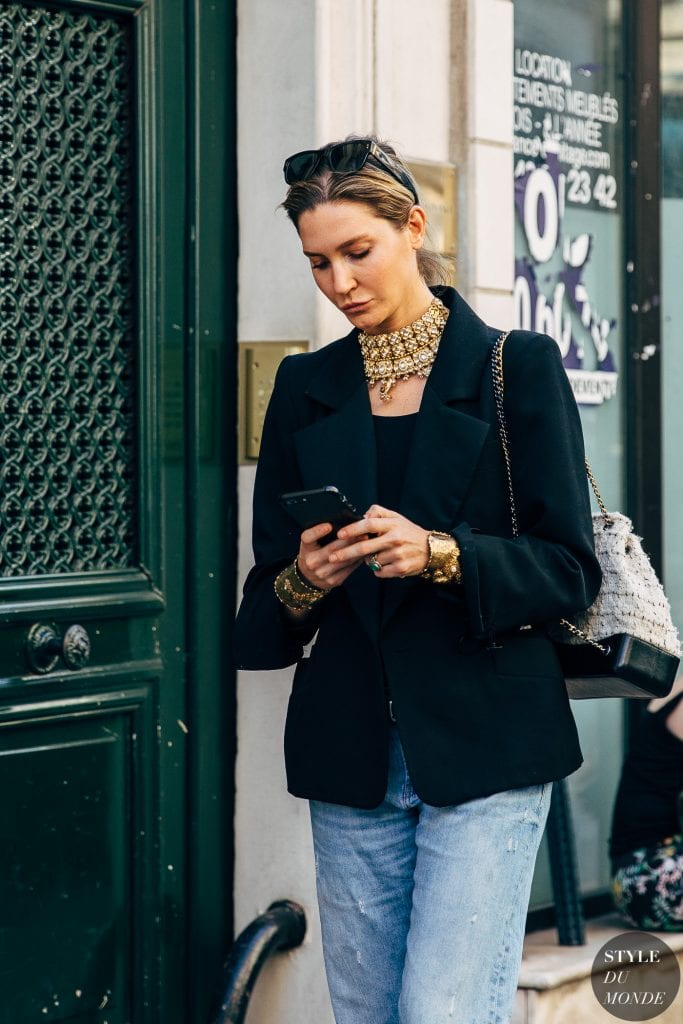 black blazer with jeans street style outfit of the day