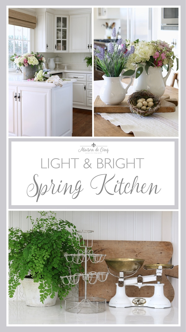 light and bright spring styling in the kitchen