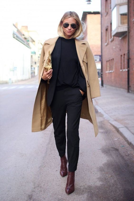 chic French fashion outfit camel coat black sweater and pants street style