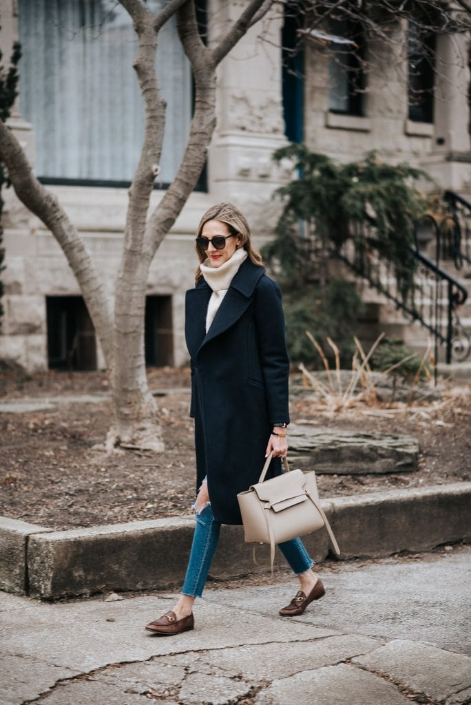 white turtleneck black overcoat and jeans street style winter fashion ideas