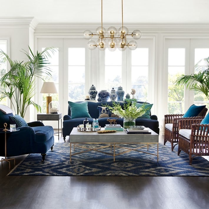 decorating with blue gorgeous living room velvet chairs ginger jars