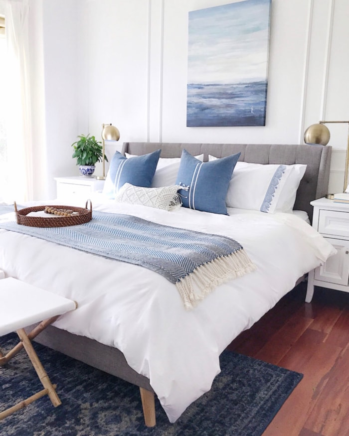 gorgeous blue and white master bedroom pillows bedding