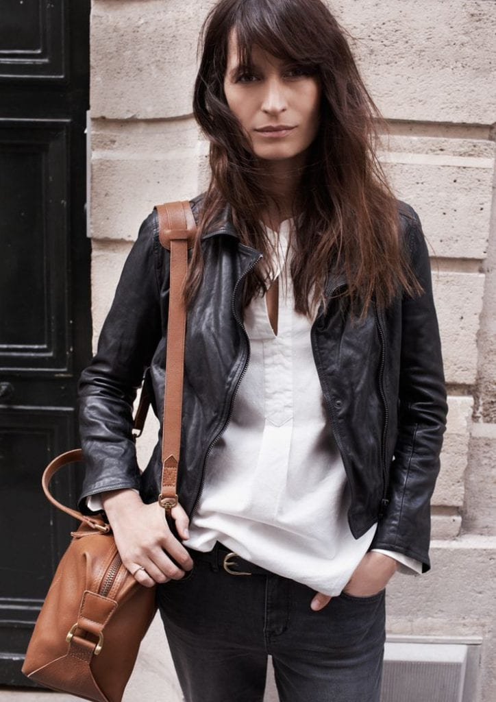 black leather jacket white blouse jeans french fashion street style