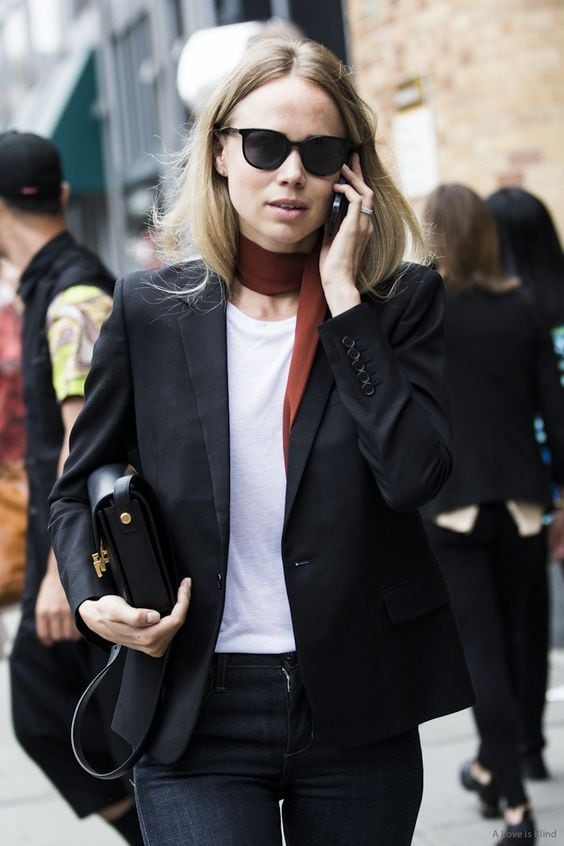 chic French fashion black blazer with tee shirt and scarf