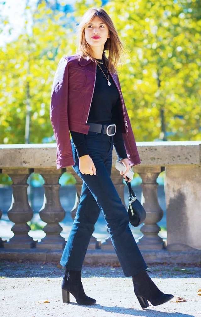 black stack heeled boots with jeans and jacket fashion style ideas