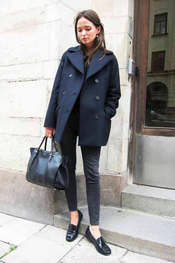 black peacoat slacks and loafers fall winter fashion outfit ideas