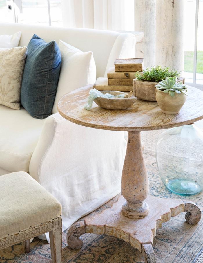 decorating with blue pillow on white sofa farmhouse table