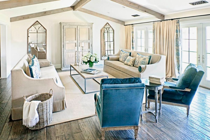 French country farmhouse inspired neutral living room with pops of blue
