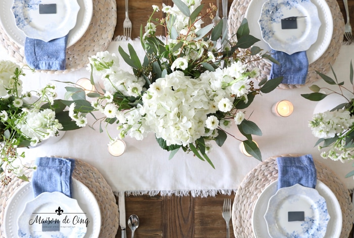 white flowers in white ironstone gorgeous centerpiece spring tablescape