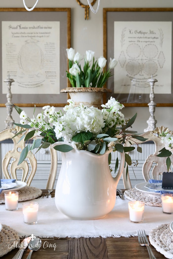 gorgeous spring table setting with white hydrangeas in white ironstone pitcher