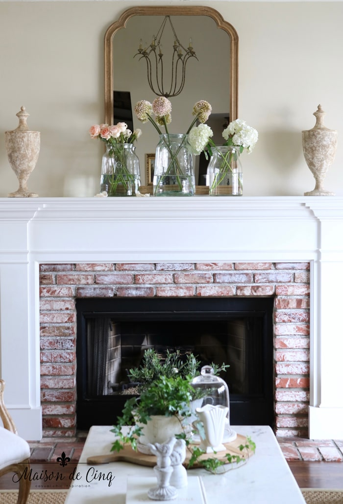 easy spring decorating ideas mantel decor mantelscape with flowers