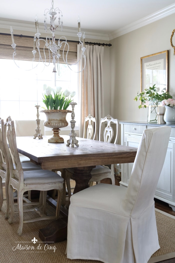 French farmhouse dining table with pretty spring decor
