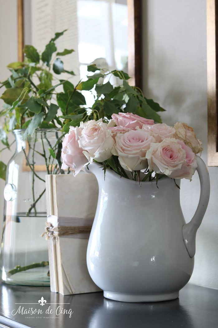 white ironstone pitcher with pink roses French country farmhouse style decor