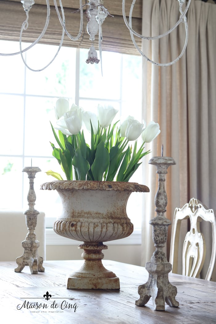 tulips in French vintage urn gorgeous spring decor ideas