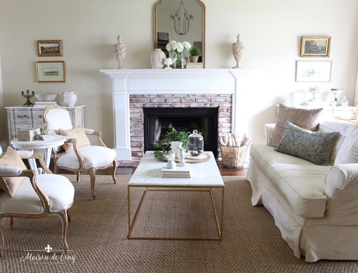 gorgeous French country living room with hydrangeas and plants spring decorating ideas