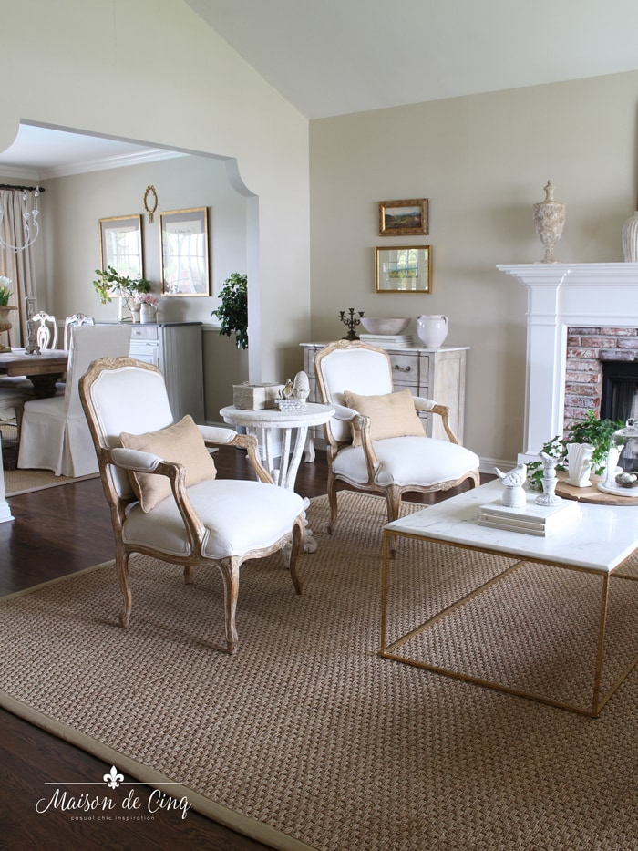 French country living room decorated for spring