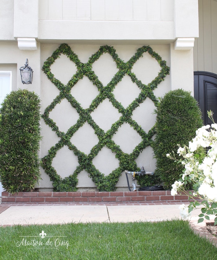 diamond pattern espalier on wall on front of house gorgeous landscaping idea