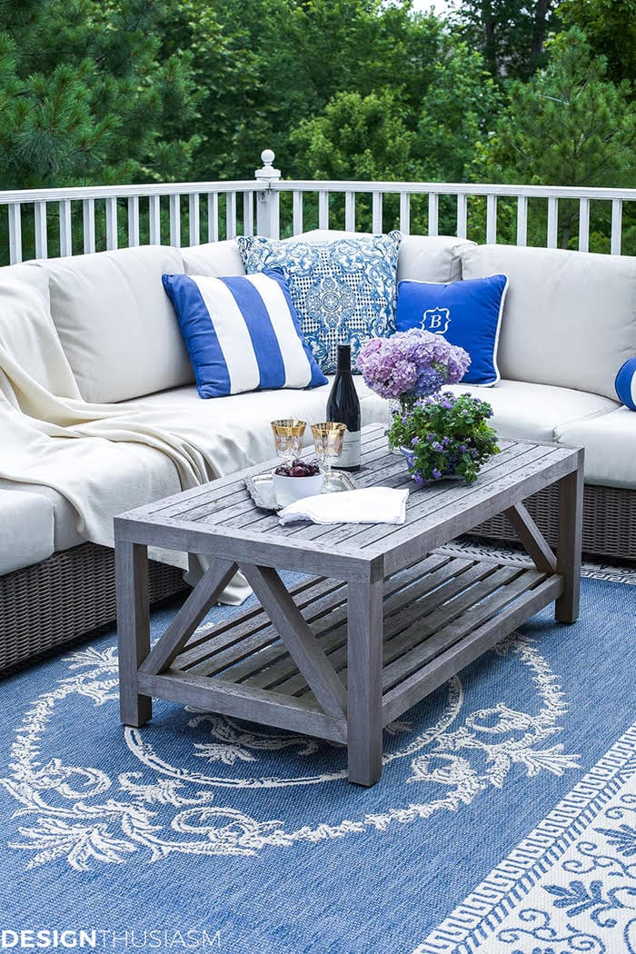 patio outdoor decorating ideas pretty pillows and rug