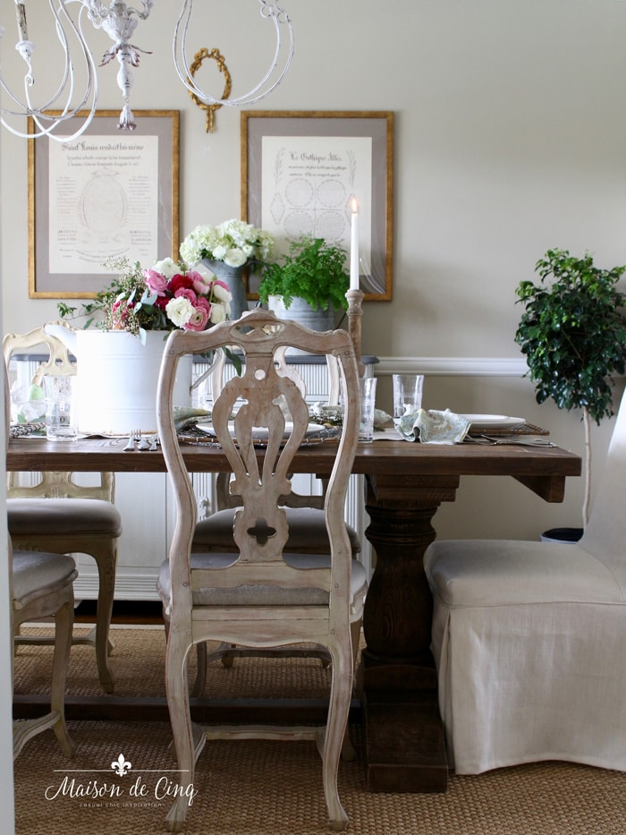 French country dining room Easter table setting garden theme spring entertaining idea