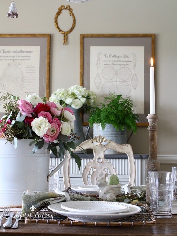 gorgeous Easter table setting with garden inspired theme
