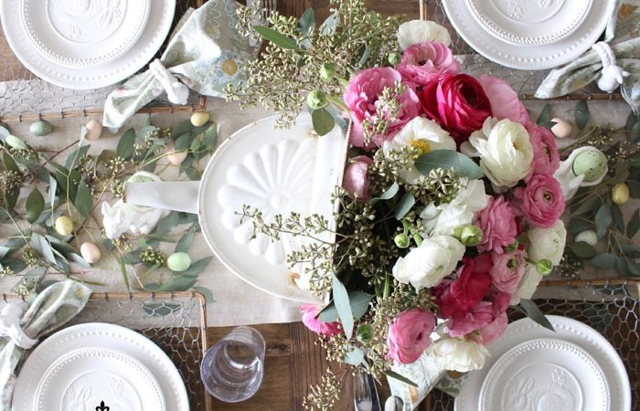 Garden Inspired Easter Table Setting with Ranunculus