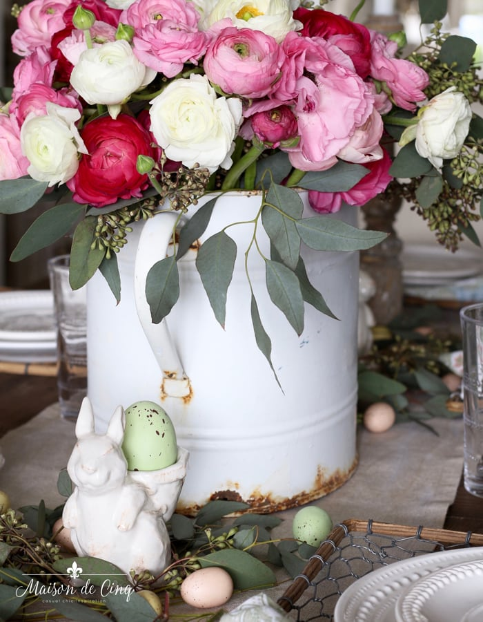 bunny with eggs and ranunuculus spring or Easter tablescape ideas