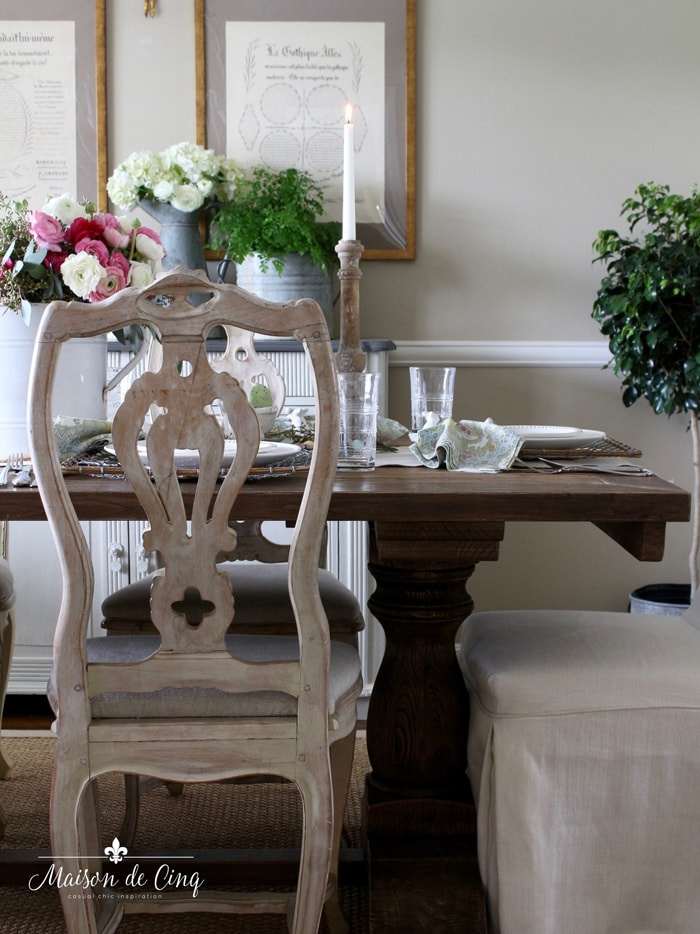 Easter table setting in gorgeous French country dining room pretty spring styling