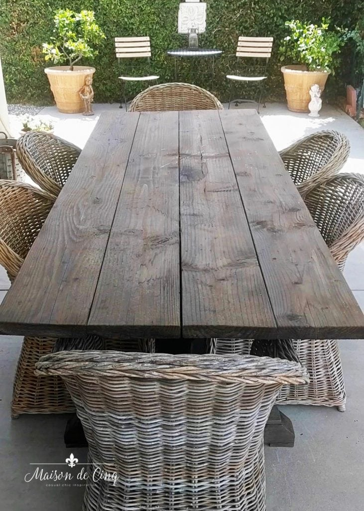 DIY farmhouse table wicker chairs