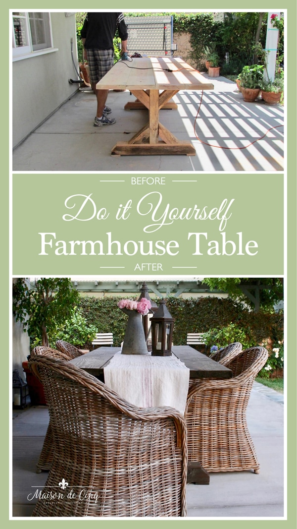 DIY farmhouse table Anthropologie knockoff