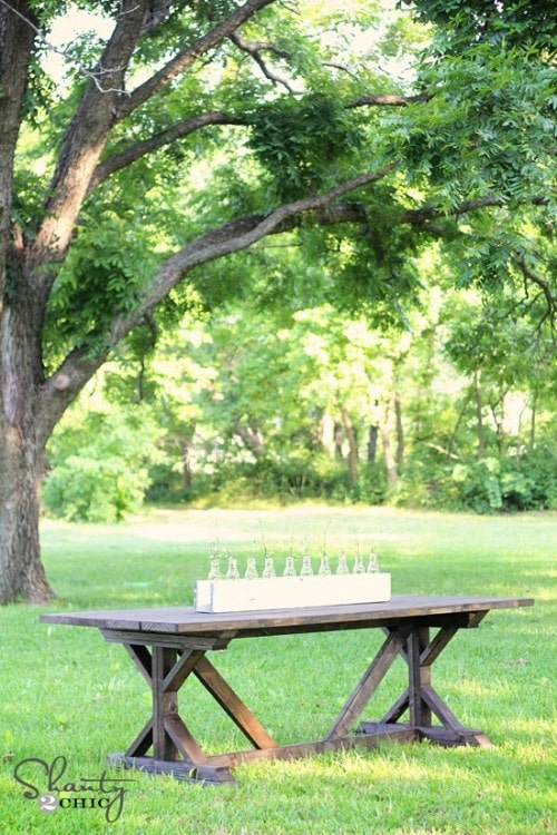 farmhouse table in the grass